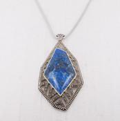 Lapis & Marcasite Pendant Necklace