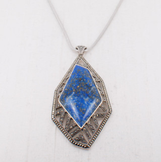 Lapis & Marcasite Pendant Necklace