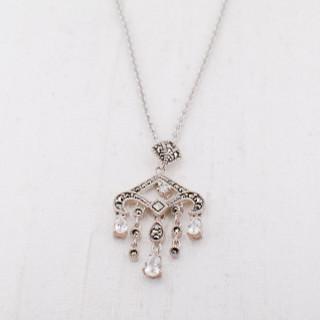 Cubic Zirconia & Marcasite Chandelier Necklace