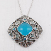 Chalcedony Radiant Medallion Necklace