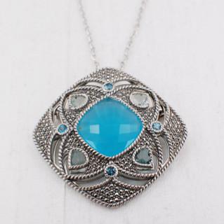 Chalcedony Radiant Medallion Necklace