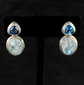 Moonstone & Asotic Blue Topaz Post Earrings