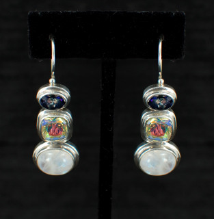 Moonstone, Mercury Quartz & Azotic Blue Topaz Earrings