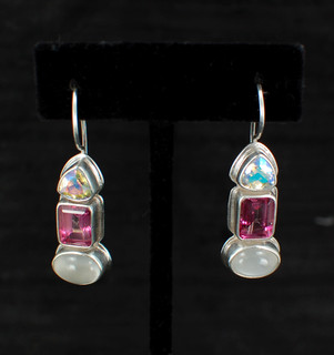 Moonstone, Pink Topaz & Mercury Quartz Earrings
