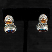Azotic Topaz &amp; Canary Topaz Post Earrings