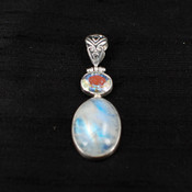 Moonstone & Mercury Quartz Pendant