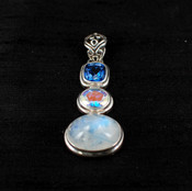 Moonstone, Mercury Quartz & Azotic Blue Topaz Pendant