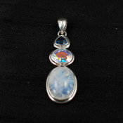 Moonstone, Mercury Quartz & Azotic Blue Topaz Long Pendant