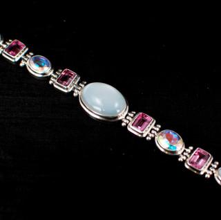 Moonstone, Pink Topaz & Mercury Quartz Large Bracelet