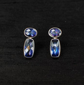 Neptune Topaz Baguette & Oval Post Earrings