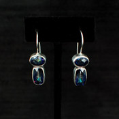 Neptune Topaz Baguette & Oval Earrings