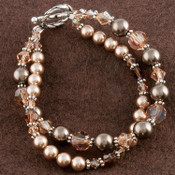 Double Bracelet shown in Sterling Silver Sandy Beach - Bronze & Brown Swarovski crystal pearls with Light Colorado Topaz & Smoked Topaz Swarovski crystals.