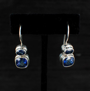 Azotic Blue Topaz Cushion & Oval Earrings