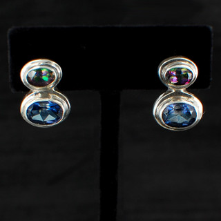Mystic & Blue Passion Topaz Oval Post Earrings