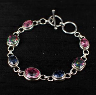 Pink, Blue & Mystic Topaz Bracelet