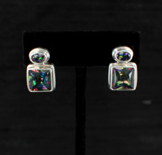 Mystic Topaz Princess & Oval Post Earrings