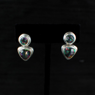 Mystic Topaz Trillion & Round Post Earrings