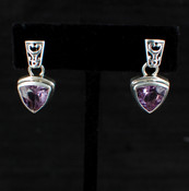 Amethyst Trillion Post Earrings