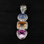 Azotic Topaz, Moonstone & Raspberry Quartz Pendant