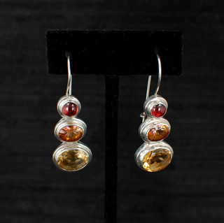 Citrine, Garnet & Twilight Topaz Earrings
