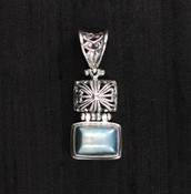 Blue Pearl Rectangle Pendant