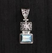 Blue Pearl Rectangle Pendant