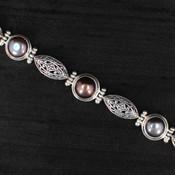 Blue Pearl & Silver Bracelet