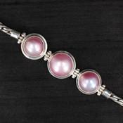 Three Pink Pearl Bracelet