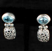 Oval Gemstone Post Dangle Earrings in Blue Topaz