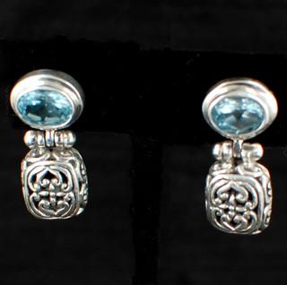 Oval Gemstone Post Dangle Earrings in Blue Topaz