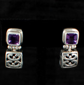 Square Gemstone Post Dangle Earrings in Amethyst