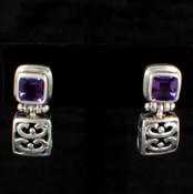 Square Gemstone Post Dangle Earrings in Amethyst