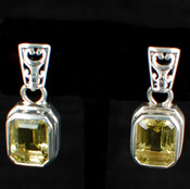 Emerald-Cut Gemstone Post Dangle Earrings (more colors)