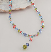 Crystal Drop Necklace in Sterling Silver Garden