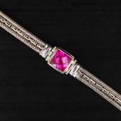 Rose Corrundum Square Chain Bracelet