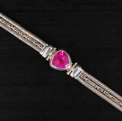 Rose Corrundum Millennium-Cut Chain Bracelet