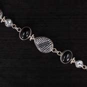 Onyx, Drusy & White Topaz Bracelet