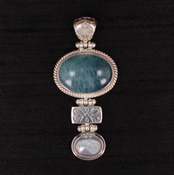 Aquamarine &amp; Drusy Pendant