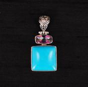 Turquoise Square & Mystic Topaz Pendant
