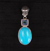 Turquoise & Square Mystic Topaz  Pendant