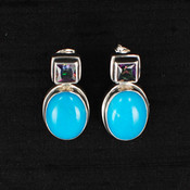 Turquoise & Square Mystic Topaz Earrings