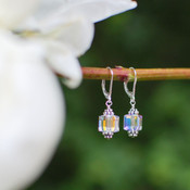 Cube Earrings in Sterling Silver Crystal (Clear)