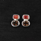 Smoked Topaz & Salmon Quartz Post Earrings
