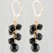 Crystal Cluster Earrings in 18k Gold Vermeil Jet (Black)