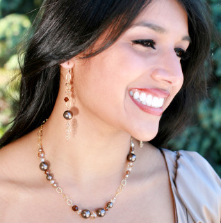 Sandy Beach Chain Eclectic Earrings shown with Sandy Beach Eclectic Necklace