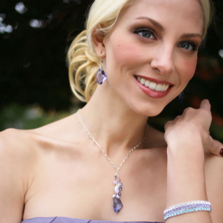 Dream Necklace shown with the Dream Earrings & Swarovski Crystal Stretch Bracelets in Crystal (Clear), Tanzanite & Aquamarine.