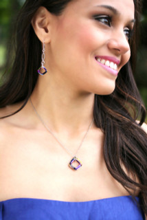 Cosmic Square Ring Necklace, shown with Cosmic Square Ring Earrings