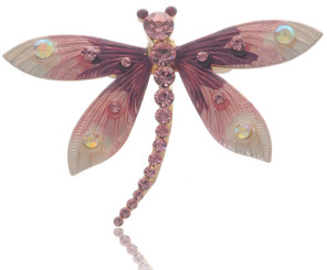 Neoglory  Enameled Crystal Dragonflies Casual Brooch