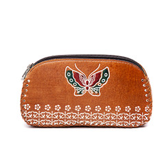 Traditional Style Hand Stitched Leather Butterfly Purse