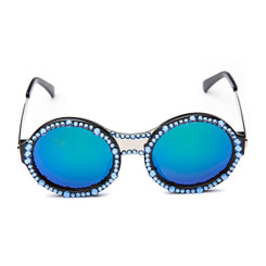 Round Green Crystal Sunglasses